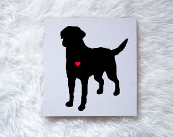 Hand Painted Chesapeake Bay Retriever Silhouette on Painted Grey Wood, Dog Decor Dog Painting, Gift for Dog People, New Puppy, Housewarming