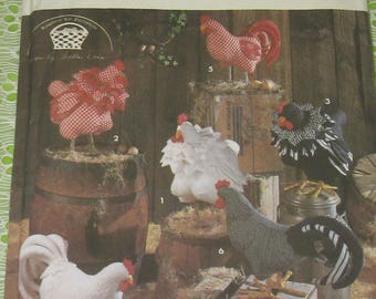 Fabric Chicken Pattern- Hen And Rooster- Soft Sculptured Farm Animals- Simplicity Craft Pattern 8399- Country Decor- Sewing Barnyard Birds