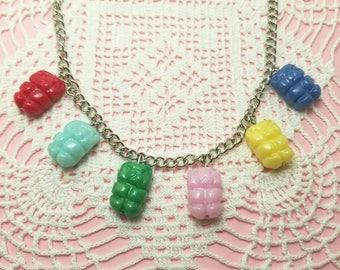 Polymer Clay Gummi Bear Necklace Food Jewelry