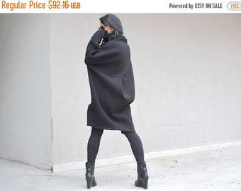 SALE 25% OFF Black winter Dress / Asymmetric black dress /  plus size DRESS /Turtle neck collar