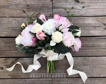 Boho Bouquet, Wildflower Bouquet, Bridal Bouquet, Pink Bouquet, Blush Bouquet, Pink and Ivory Bouquet