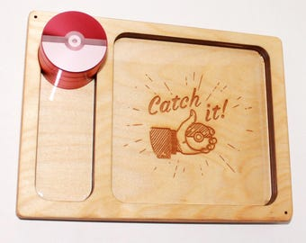 Pokeball Rolling Tray + Grinder COMBO DEAL - Handcrafted Wood Burned Pokemon Rolling Tray - Masterball Design 4 Piece Metal Herb Grinder