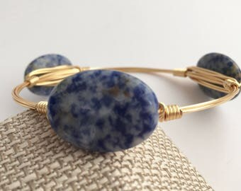 Blue Jasper Wire Wrapped Bangle. wire Wrap Bangle, Wire Bangle, Gemstone Bangle, Wire Wrap Bracelet, Wire Wrapped Bracelet