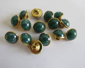 Small domed round button gold and dark green