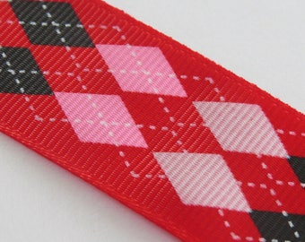 Pretty pink and black Plaid red grosgrain Ribbon