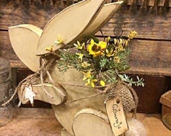 "Primitive Easter/Spring Rabbit Handmade Folk Art Gatherings ""Backpack Bunny"" Antique White Unique Wooden Spring Home Decor Item"