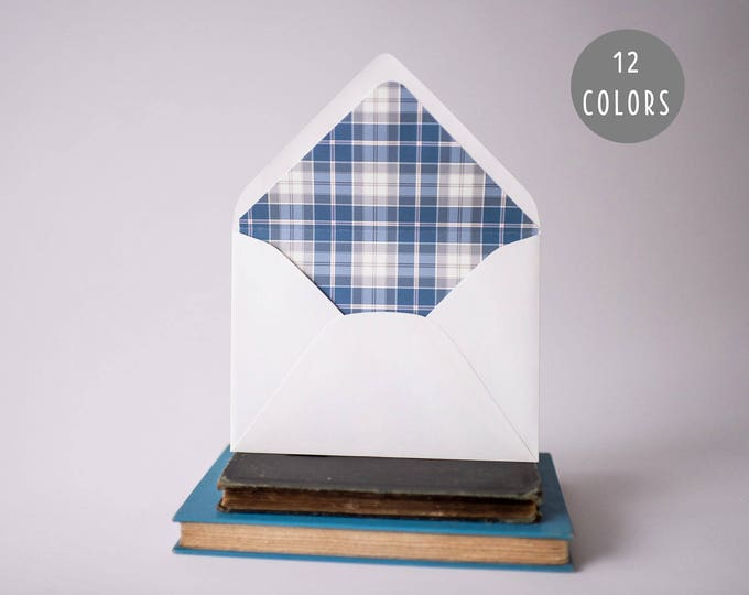 plaid lined envelopes (12 pattern options) - sets of 10  // envelope liners lined envelopes rustic party invitation invite