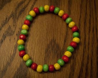 Rastafari Wood Bead Bracelet
