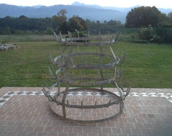 """French Vintage, Very Large Bottle Drying Rack, """"Herisson Bouteille"""", 84 Bottle Capacity with 6 Hoops, Loft Industrial Kitchen. Wonderful!"""