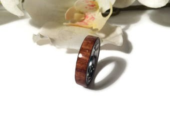 Handmade Exotic Cebil Wood And Stainless Steel Wedding Ring, Promise Ring, Anniversary