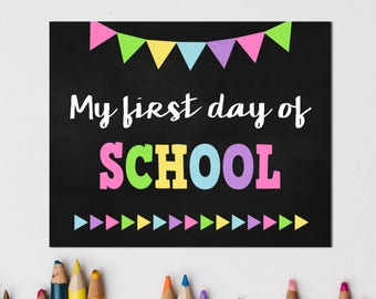 First Day of School Chalkboard Sign Pack, Reusable, Back to School, Printable, First Day Photo Prop, 1st Day, Preschool, Kindergarten, Girl