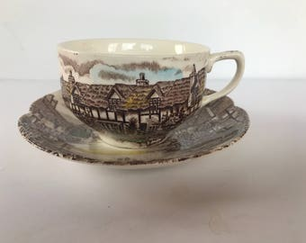 Vintage Johnson Brothers Ironstone Olde English Countryside Flat Cup and Saucer