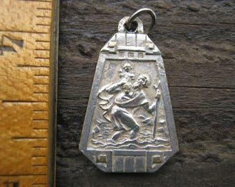 French Vintage Medal, Saint Theresa Medal, Sainte Therese Medal, Saint Chrisopher Medal, French Religious Pendant