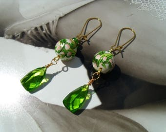 LILY of the Valley Japanese Tensha beads earrings rose green summer Peridot quartz Briolettes
