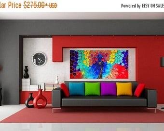 Rainbow Multi Color Impasto Acrylic Palette Knife Painting