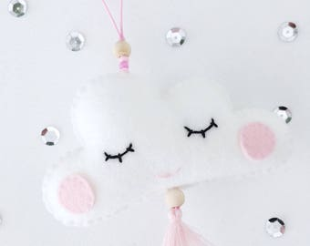 Pendant, Cloud, Pink, Sleepy Eyes, 15 cm long (length), 10, 5 cm wide (wide), decoration, kids room