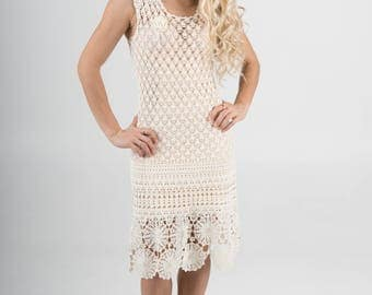 Original White Crotchet Dress - Small - free shipping worldwide!