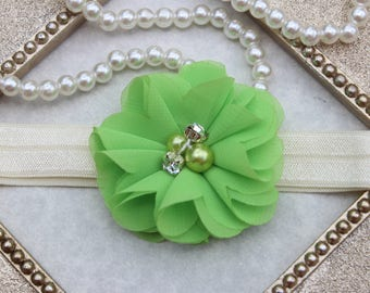 Parakeet green headband, lime green headband, lime green baby girl headband, bright green flower headband, Infant headband bright green
