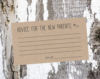 Advice for Parents to Be Card / Baby Shower Game