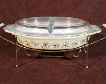 Pyrex Divided Dish Dandelion Candle Warmer Chafing Dish