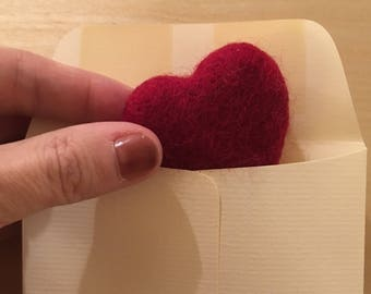 Felt Valentine Heart, Red Felted Heart, Eco Friendly Valentine's Gift, Gift for Male Teacher, Gift for Teacher, Present Topper, Office Gift