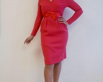 Fuchsia Wiggle Dress with Satin Bow