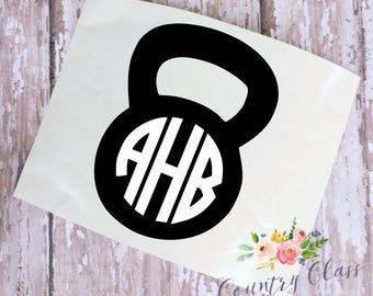 Monogram Kettlebell Decal | Gym Decal | Workout Decal | Car Decal | Yeti Decal
