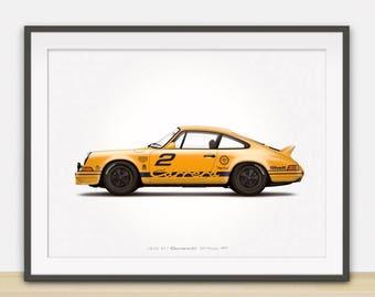 1973 Porsche 911 Carrera RS (GP Edition) illustration poster, print