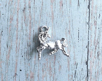 2 Small Unicorn charms 3D silver plated pewter - silver unicorn pendants, fairy tale charms, mythology charms, fantasy charms, W9