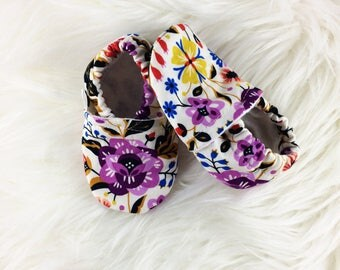 Bohemian Garden Softsole Shoes, Baby Shoes, Crib Shoes, Slip Ons, Slippers