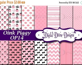 BTS Oink Piggy Digital Scrapbooking  Paper Set - Instant Download
