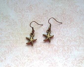 Earrings Starfish bronze colors