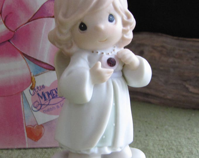 Precious Moments February Birthday Angel with Birthstone Figurine Retired Little Moment Series