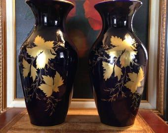 Pair Vintage Cobalt Blue Vases - Grape Leaf 22 Carat Gold - Hand Decorated