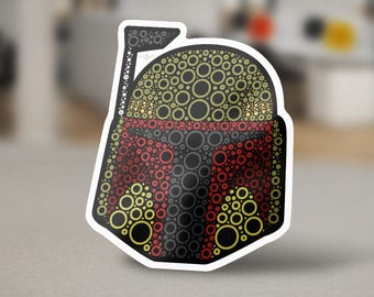 """Boba Fett Sticker Design, a pop culture icon. Copy of Jango Fett from the movie """"Star Wars. Bounty Hunter in Green and Red on White"""