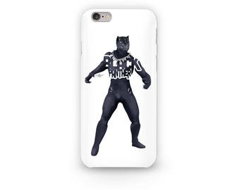 "Black Panther Phone Case Typography Design from the Marvel Universe with his name, ""Black Panther"" in Black Sticker Laptop Decal Avengers"