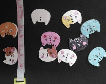 Set of 10 20mm cat wooden buttons
