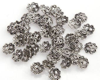 50 bead caps caps for 8 mm diameter silver metal beads