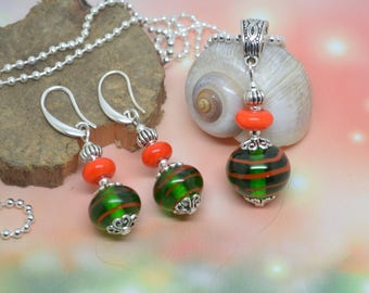 Set necklace earrings green and orange Lampwork murano glass beads