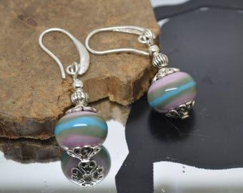 Earrings 925 Silver hooks khaki turquoise pink Lampwork Glass Beads