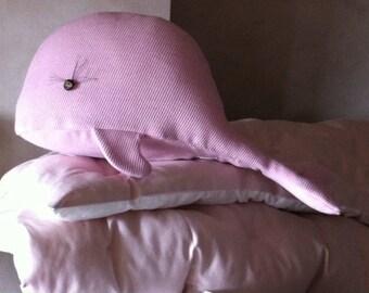 Whale pink XL trophy pillow - bedroom decor