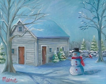 Gallup barn, oil painting, landscape painting, snowscape, snowman