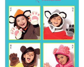 Kwik Sew-Sewing Pattern K4202 Kids' Animal-Themed Hoods and Mittens