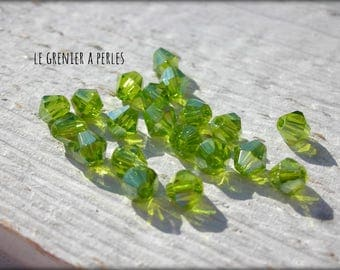 Bicone 4 mm Olivine AB X 50 Crystal from China