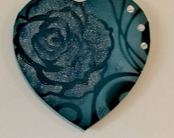 PAINTING abstract modern heart Valentine's day blue