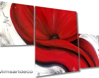 Painted red poppy painting by hand