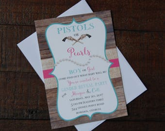 Pistols or Pearls Gender Reveal Invitation, Pistols or Pearls Invitation, Gender Reveal Invitation, Rustic Gender Reveal Invitation