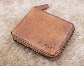 Minimalist Wallet, Men's Leather Wallet, Men's Wallet, Leather Wallet For Man, Zipper Wallet, Slim Leather Wallet