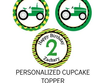 Personalized Tractor Theme Cupcake Topper Tractor Construction Truck Theme Tractor Inspired