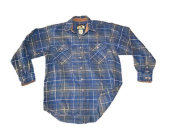 Blue Flannel Shirt  | 90s Grunge Flannel Shirt |  Plaid Gray |  Oversized Long Sleeve Vintage  Hipster Casual Sm Medium Large